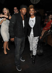 Kandi tucked her jeans into these black heeled boots to show off their silver embellishments.