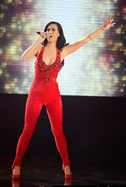 Katy is famous for her love of spandex and jumpsuits. Here she combines both in this intricately embellished design for her performance at the AMAs.
