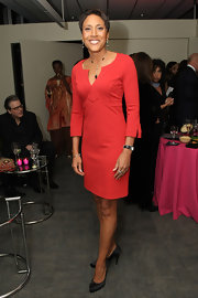 Robin Roberts oozed style at the DVF Awards in her red cocktail dress.