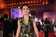 Salma Hayek Wears a Black and Gold Cocktail Dress