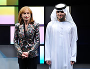 Isabelle Huppert looked downright sophisticated in her shimmery jacket at the Dubai International Film Festival.