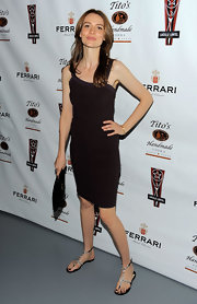 Saffron Burrows showed off her slim figure in a skin-tight LBD.