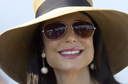 Bethenny Frankel showed off her dangling diamond earrings while at the Polo Challenge in New York.