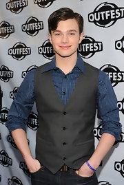 Chris Colfer showed off his side swept short cut.