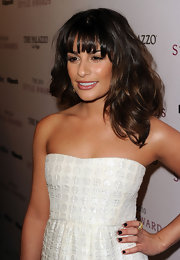 Lea Michele showed off her perfectly manicured tips in a dark shade that works perfect for the winter.