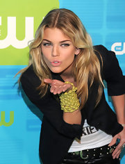 90210 AnnaLynne McCord paired her boyfriend blazer with a neon beaded bracelet.