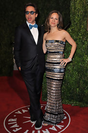 Susan Downey looked downright glam in her beaded strapless column dress at the 2010 Vanity Fair Oscar party.