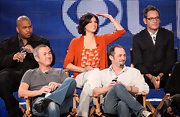Lana Parrilla stood out at the TCA Tour in her bright orange cardigan and print top.