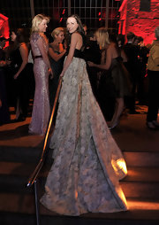 Laura Myland-Shaw looked like a modern day princess in an embroidered gown with an extravagant train.