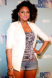 Marsha Ambrosius' white blazer was a sophisticated finish to her ruffle blouse and shorts combo at the 2011 BET Awards nominations announcement.