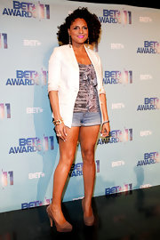 Marsha Ambrosius finished off her sexy-chic look with a pair of nude platform sandals.