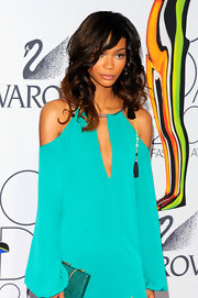 Model Chanel Iman added a little bounce to her look with long curls at the 2011 CFDA Awards.