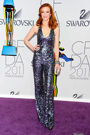 Marcia was in a disco mood at the CFDA Awards wearing a sequin saturated jumpsuit.