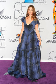 Behati Prinsloo wore a blue gown to the CFDA Fashion Awards that made her look like a fairy tale princess.