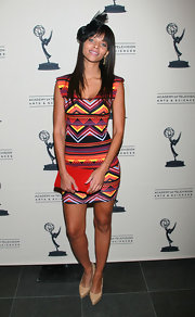 Denise Vasi wore a curve-loving geometric print dress at the cocktail reception of the Daytime Emmy Awards.