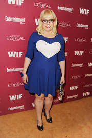 This royal blue heart dress was a fun-loving look on Kristen Vangsness.