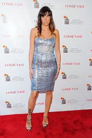 Paz wore a shining ice blue cocktail dress for the FiFi red carpet.