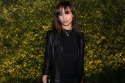 Zoe Kravitz Goes Rocker-Chic in a Black Leather Jacket