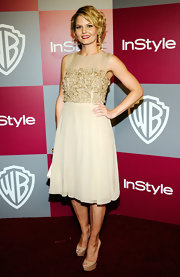 Jennifer Morrison looked poised in nude platform Lady Peep pumps.