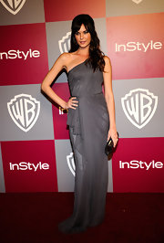 Odette donned a draped Grecian evening dress in a soft gray for the Golden Globes after party.