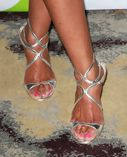 Wendy Raquel Robinson's silver strappy sandals have a futuristic feel.
