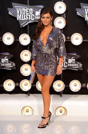 Jennifer 'JWoww' Farley showed off her rocking new bod in a sparkling mini dress. The gunmetal gray frock with a plunging neckline and embroidered rhinestone detail was the right touch of sexy glam for the event.