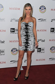 Joanna Krupa was a sultry beauty at the Maxim Hot 100 Party in a strapless zebra print cocktail dress.