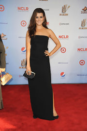 Cote de Pablo was simply chic at the ALMA awards in a black strapless dress with a sexy side split.