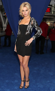 Alyson Michalka struck a pose in Jimmy Choo Enigma sandals. The strappy were a sultry addition to her zip-up bustier dress.