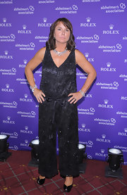 Patty Smyth looked easy breezy and chic at the same time in a beaded black jumpsuit.