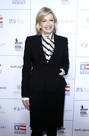 Diane Sawyer looked oh-so-polished in her black skirt suit and striped button-down at the 2011 Stand Up for Heroes.