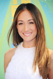 Maggie Q styled her hair in sleek layers with a center part for the 2011 Teen Choice Awards.