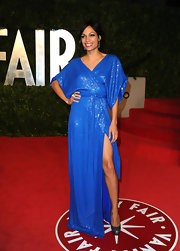 Rosario Dawson stepped out at the 'Vanity Fair' Oscar party in pewter platform pumps.