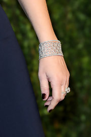Sheryl Berkoff opted for a sparkling touch on the red carpet with a diamond embellished bracelet.
