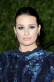 Actress Lea Michelle paired her sequined gown with midnight blue shadow. She amped up the drama by lining her lower lids as well.