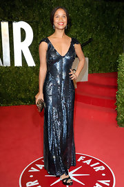 Joy shined in a sequin-satured evening dress at the Vanity Fair Oscar party.