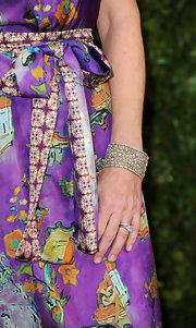 Rita Wilson paired her printed frock with a sparkling diamond bracelet.