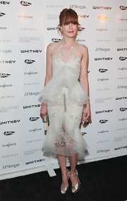 Michelle Monaghan shined at the Whitney Museum gala in NYC. She donned an embroidered silver dress complete with cascading tulle detailing.