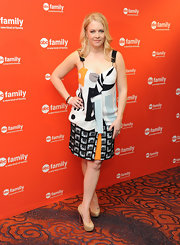Melissa Joan Hart wore this abstract print dress to the ABC Family Upfront event.