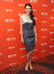 Sutton Foster attended the ABC Family Upfront event wearing this faux layered cocktail dress.