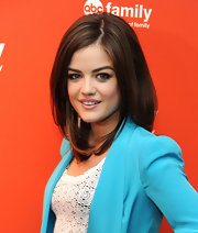 Lucy Hale wore her hair styled sleek and straight with a slightly off-center part at the 2012 ABC Family Upfront event.
