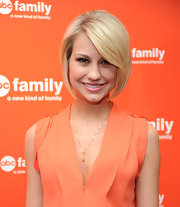 Chelsea Kane attended the 2012 ABC Family Upfront event wearing her hair in a polished-looking graduated bob with long side-swept bangs.