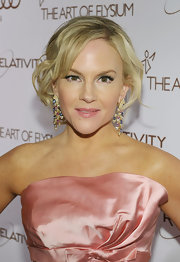 Rachael Harris wore a shiny peachy-pink lipstick to match her dress at the Art of Elysium Heaven Gala.