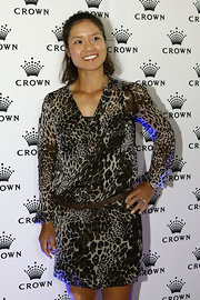 Li Na rocked a fierce leopard-print dress at the Australian Open players party.