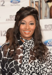 Toccara Jones opted for a tangerine lipstick shade at the BET Awards.