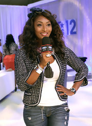 Toccara Jones wore a white enamel coated bangle at an event hosted by Ford.