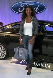 Toccara Jones was seen at the Ford Hot Spot Room sporting a chic tweed jacket.