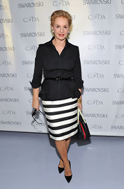 Carolina Herrera looked perfectly put together, as usual, in a button-down and black-and-white striped pencil skirt at the 2012 CFDA Awards nominee announcement.