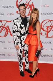 "Brad Goreski wore his print suit with ""Bruno Zip"" oxfords."