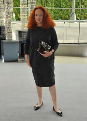 Grace Coddington carried a black leather clutch to attend the 2012 CFDA Fashion Awards.
